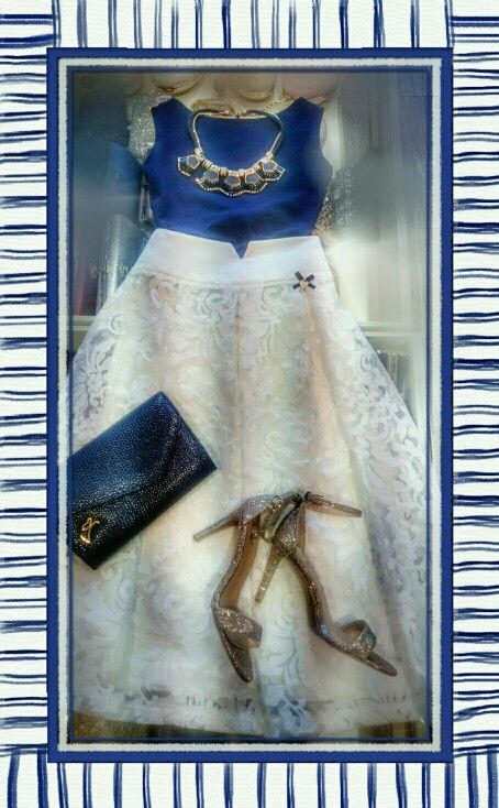 Elegant summer outfit wedding blue white lynne fashion exe high healed sandals high waist skirt white lace