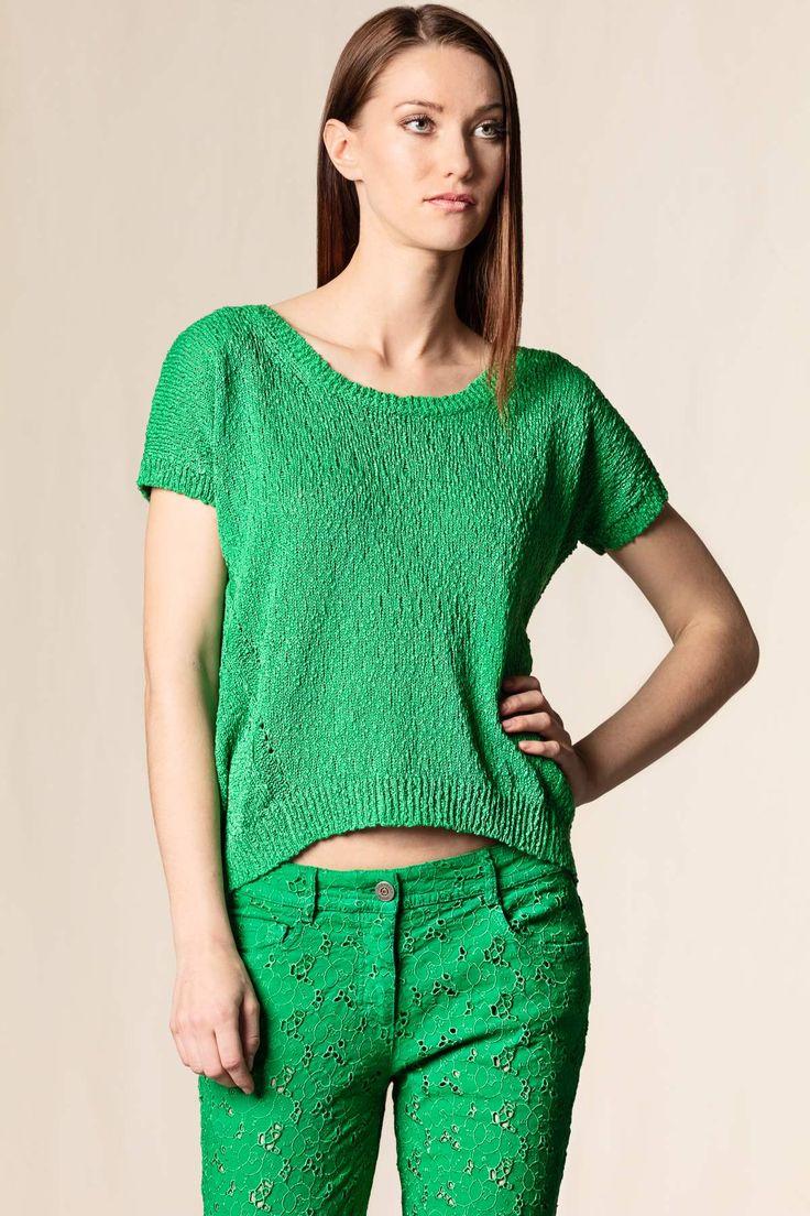 Mini pull cotone verde #scervino #shoponline #dressingfab #green #fashion #italy