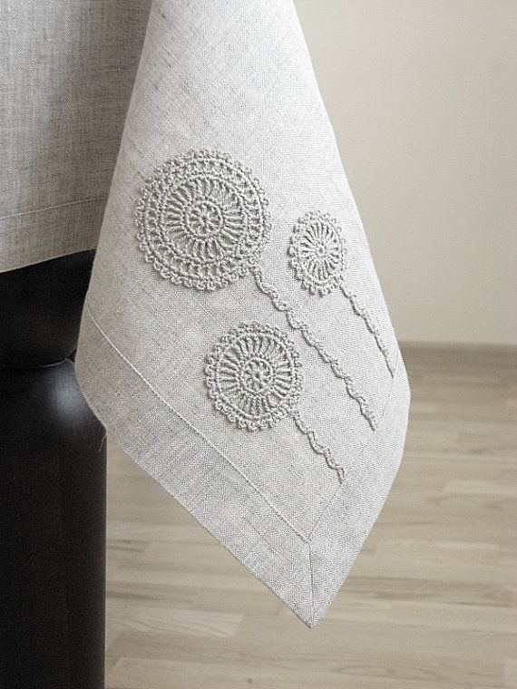 Linen tablecloth square  with handmade motifs decoration in crochet/ classic border/ light natural linen/ oatmeal color