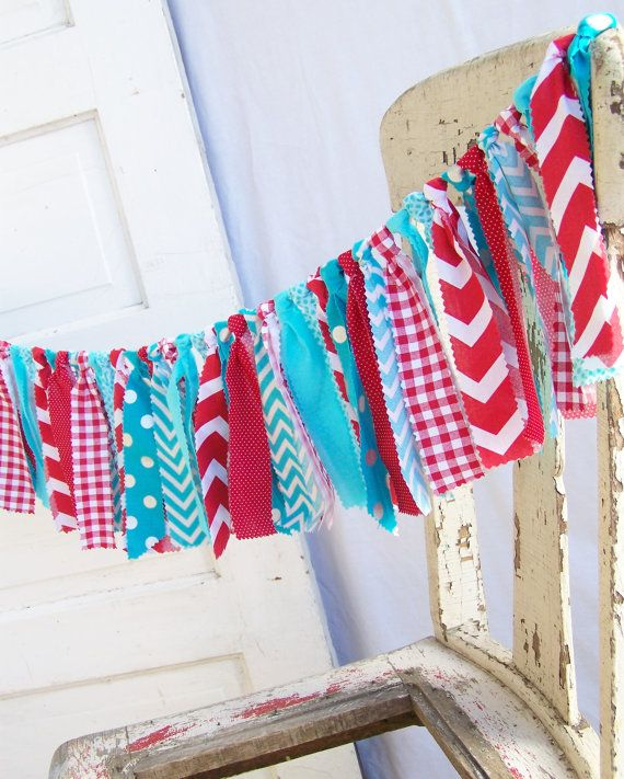 Red Teal White Garland Fabric Bunting Happy Birthday Chevron Turquoise Circus Carnival Pirate Birthday Party Decoration Nautical Dr Seuss