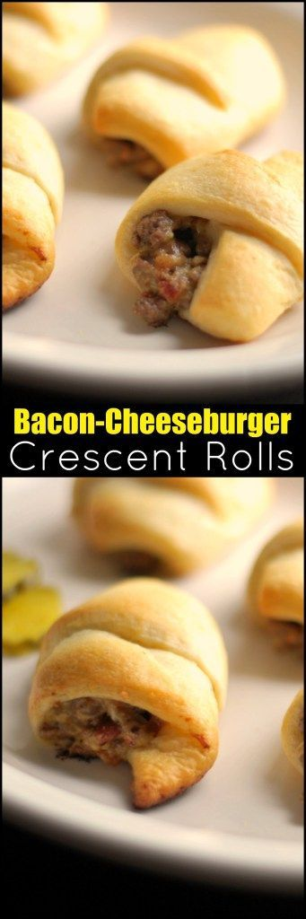Our favorite Football Party Food!  Everything you love about a Bacon Cheeseburger all wrapped up in flaky crescent rolls.  EVERYONE goes crazy for these!!! I always get asked for the recipe, and I definitely make a double batch.  They GO FAST!