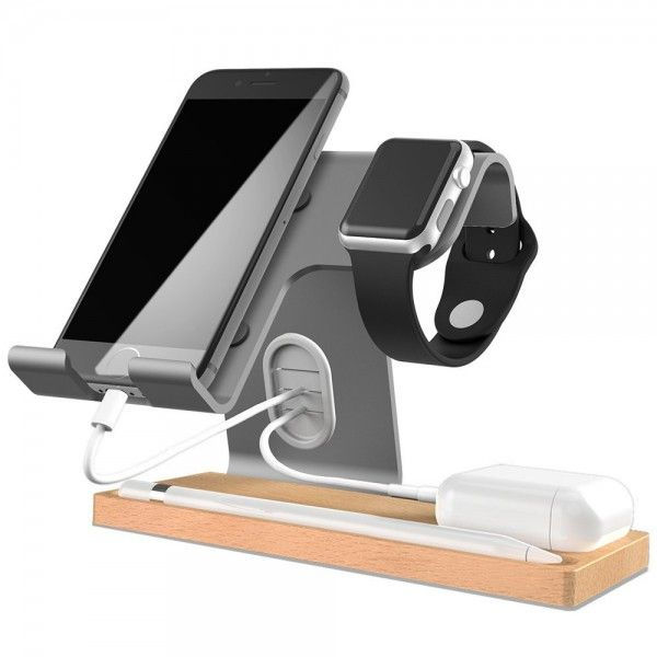 "Apple Watch / iPhone / Airpods / Pencil Dockingstation Zubehör ""THE IMPERATOR"" - Space Grey"