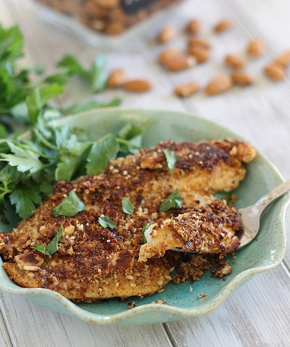 This dijon almond crusted tilapia is pan-fried, ready in 10 minutes and a healthy, grain free dinner.