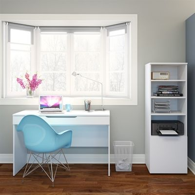 Nexera 400649 Arobas Desk with Bookcase/Audio Tower