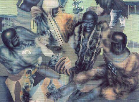 Siskov Ludmil: Rugby (1968, farost, akril, 140 x 171 cm)