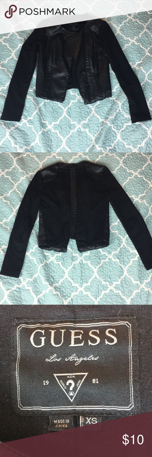Leather jacket. Used good cond.Guess Jeans XS Smoke free home. Good condition (because it has usage) but overall a great buy. Leather and cotton. Guess brand designer. Size extra small Guess Jackets & Coats