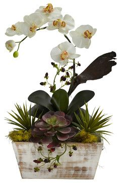 Orchid and Succulent Garden with Whitewash Planter - transitional - artificial flowers - Covered In Style Inc