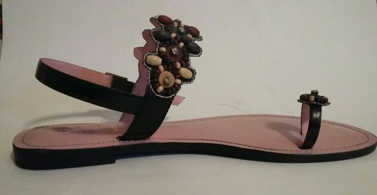 Indian pink beaded sandals