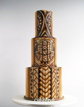 Samoan Tribal Tattoo wedding cake by Rick Reichart. www.cakelava.com