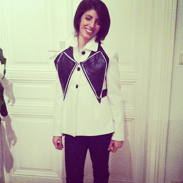 Fashion designer of MRJ sporting her own creation, the Butterfly Box, over her jacket in Vienna, Austria!