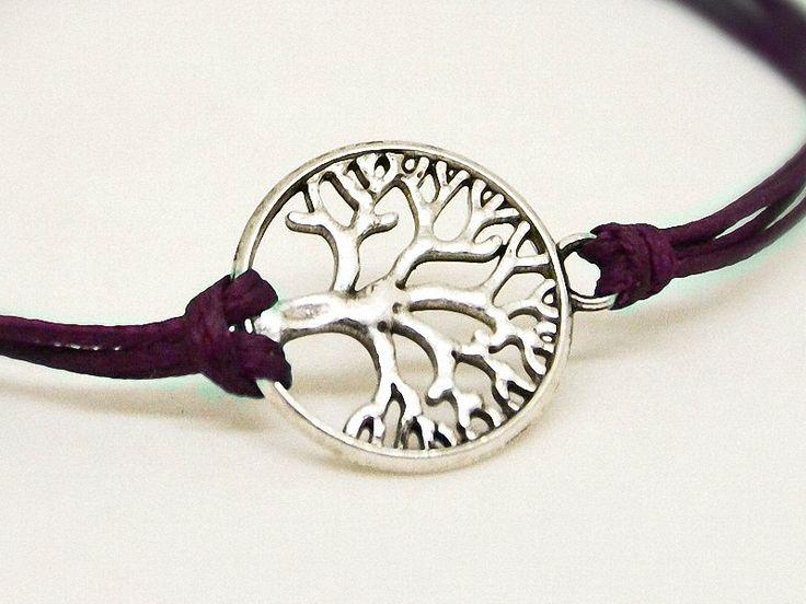 Armbänder - LEBENSBAUM zartes Baum Armband dunkel lila silber - ein Designerstück von SpreeGold-Berlin bei DaWanda