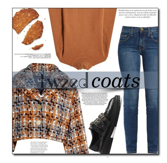 """Tweedle Dee"" by sherieme ❤ liked on Polyvore featuring Current/Elliott, Marc Jacobs, Sonia Rykiel, Burberry, BCBGMAXAZRIA, tweed, tweedcoat and WinterLayers"