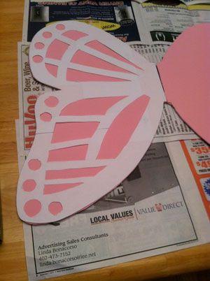 Butterfly wings using foam board.