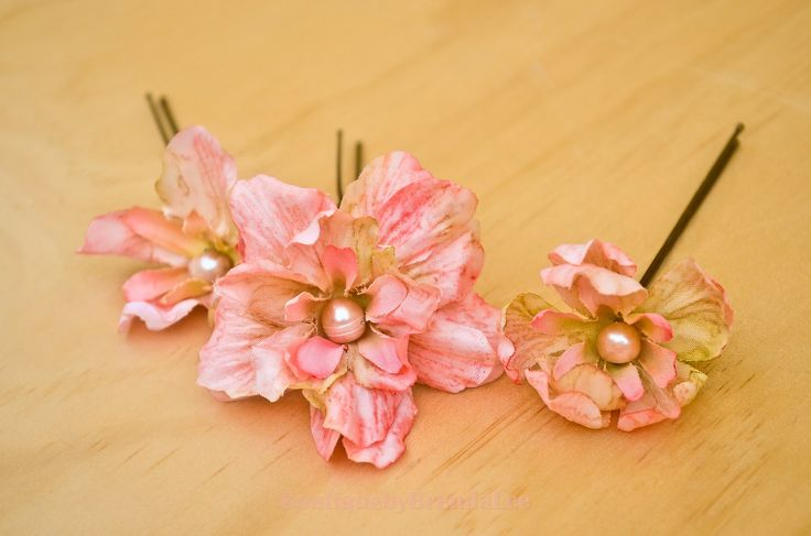 BRENDA LEE A set of 3 Delphinium Flower U pins/floral hair accessory 40929 by BoutiquebyBrendaLee on Etsy