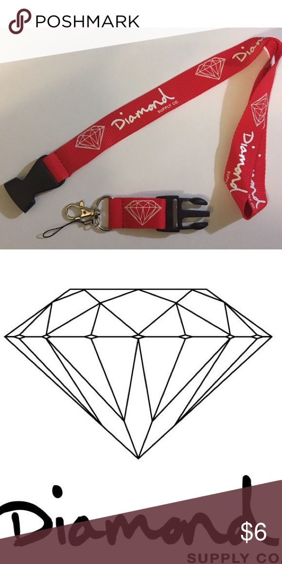 "$6❤NEW DIAMOND CO. LANYARD ❤This listing is for 1 Diamond Supply Company • Key Chain Lanyard. 3 colors Available: Tiffany Blue/White, Black/White & Red/White. Let me know if you would like more than 1 and I will update the listing. • Quick Release Clip • Nylon/Poly, Stainless Steel Hardware • 15"" Strap Droop(21"" total with quick release clip) Diamond Supply Co. Accessories Key & Card Holders"