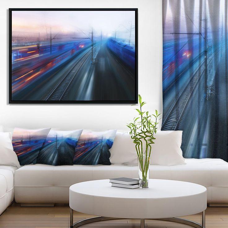 DESIGN ART Designart 'Train Movements at Twilight' Landscape Photography Framed Canvas Print