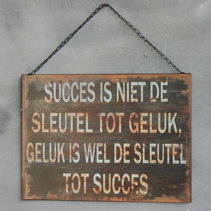 Landelijk tekstbord ijzer 'succes is niet de sleutel tot geluk, geluk is wel de sleutel tot succes'.