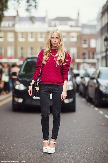 Quilted sweatshirt / Stockholm Street Style (by Alice Mary) http://lookbook.nu/look/4260473-Quilted-sweatshirt-Stockholm-Street-Style