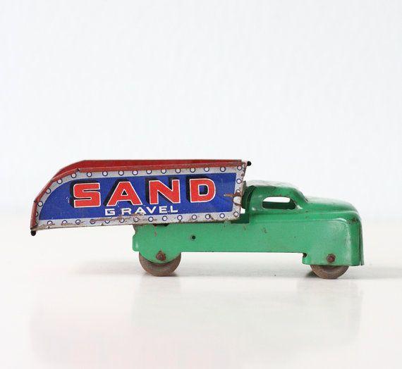 Via Etsy: Vintage Sand and Gravel Truck - Metal Toy.  Mr. Sandman's truck!