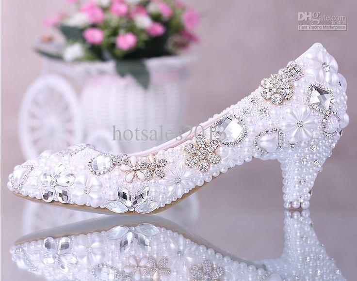 Bride Wedding 2015 Luxurious Elegant Imitation Pearl Dress Shoes Bridal Crystal Diamond Low Heeled