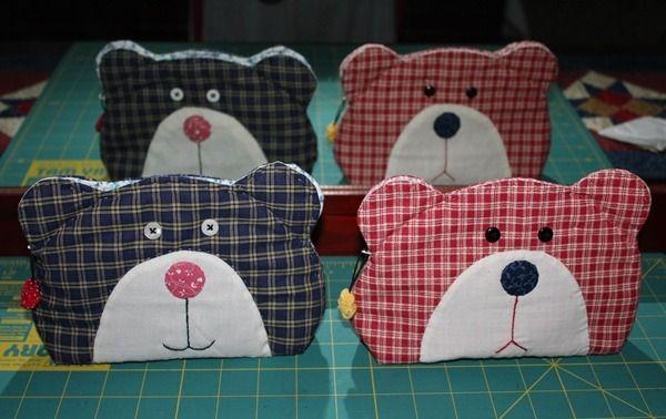 Japanese patchwork teddy bear quilt bag / zipper pouch sewing purse.