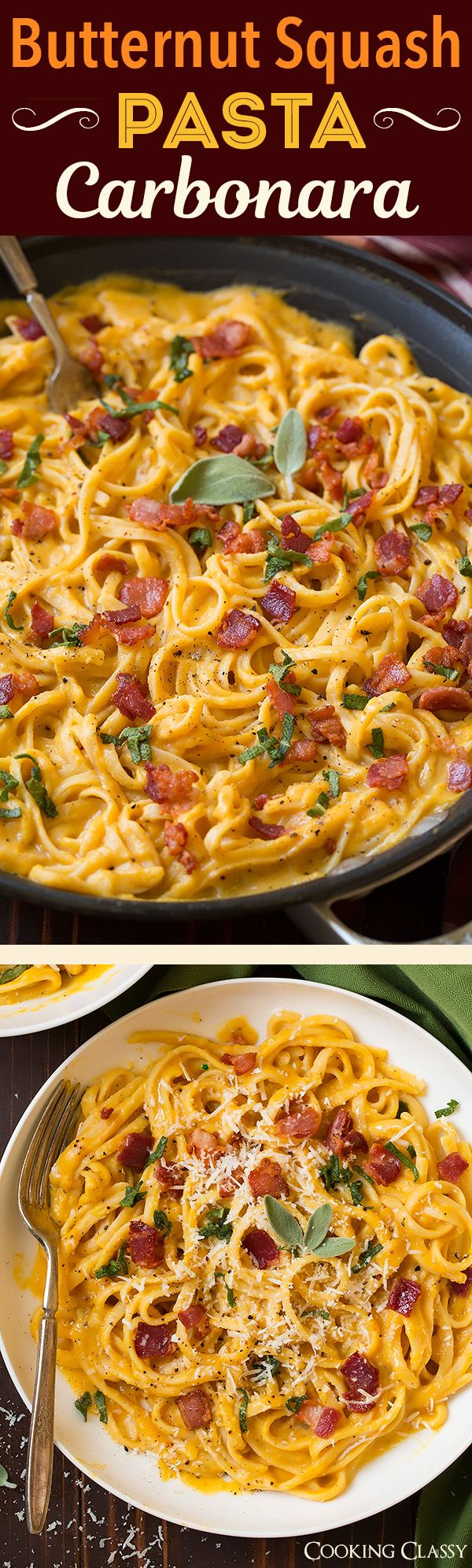 Butternut Squash Pasta Carbonara - this was delicious! Perfect fall meal! WWW.EVOKINGGRACE.COM                                                                                                                                                                                 More
