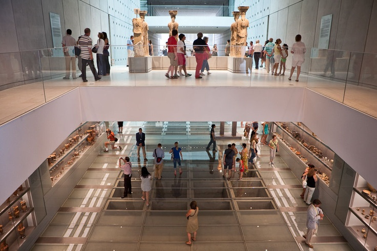 Karuatides statues and below the first level of the new Acropolis museum.