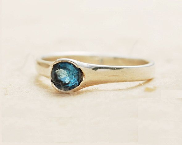 blue topaz ring. solitaire ring. delicate engagement by JewellRay, $100.00
