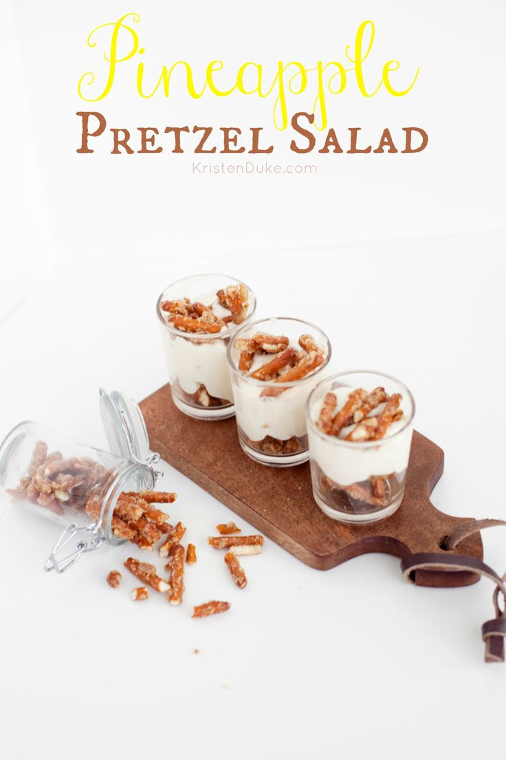 Pineapple Pretzel Salad Recipe - this fun side dish is a combination of pineapple, pretzels, and cream cheese. Perfect for all of your family gatherings.