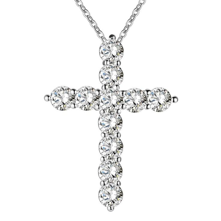 Crystal Cross - Silver with Cubic Zirconia