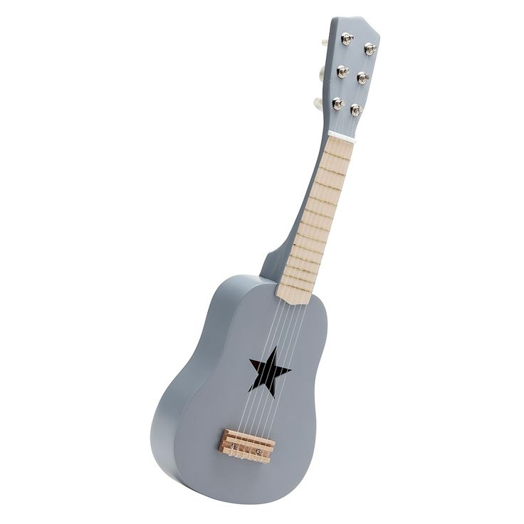 Children's Toy Wooden Guitar in grey (also available in pink). Tunes like a real instrument.