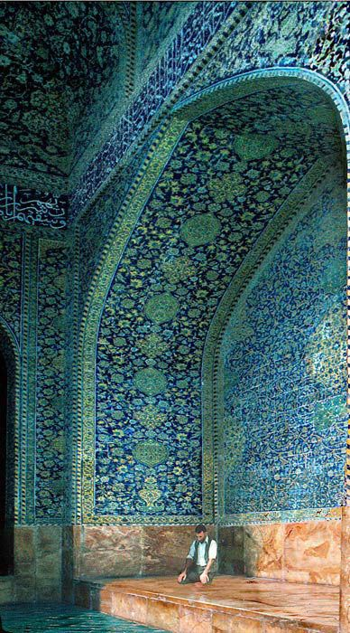 man praying in an alcove of the imam mosque (shah mosque), isfahan, iran #masjid #islamicarchitecture #persianarchitecture
