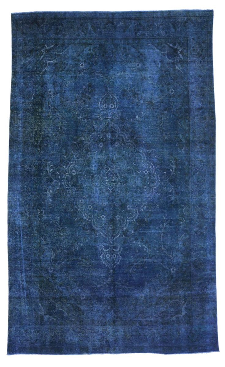 Distressed Blue Overdyed Vintage Persian Rug, Blue Persian Gallery Rug | From a unique collection of antique and modern persian rugs at https://www.1stdibs.com/furniture/rugs-carpets/persian-rugs/
