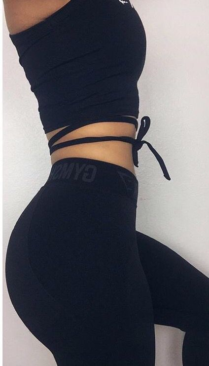 Activewear Gymshark leggings and crop top.
