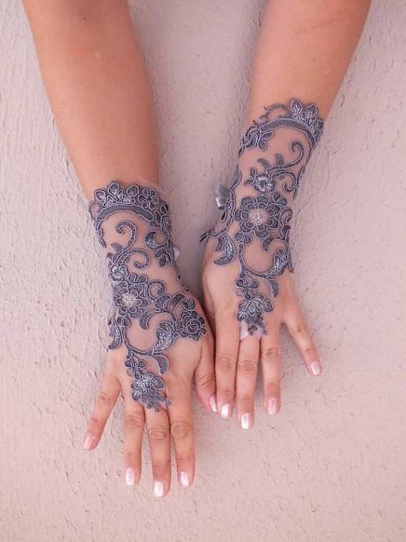 Grey lace glove Gray lace embroidered with silver by WEDDINGHome, $30.00