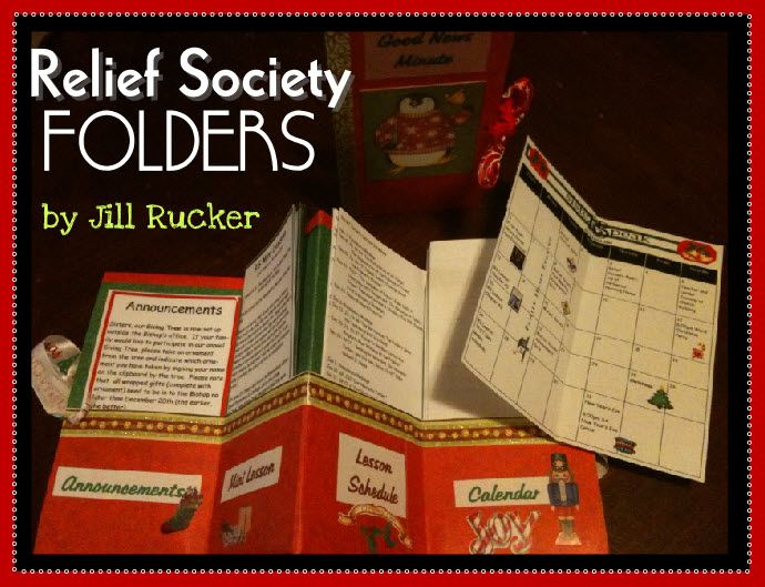 Relief Society Folders: announcements, mini lessons, lesson schedule & calendar for sisters in primary/YW OR mailing to your VT sisters
