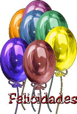 Felicidades con globos de colores - ツ Imagenes y Tarjetas para Felicitar en Cumpleaños ツ