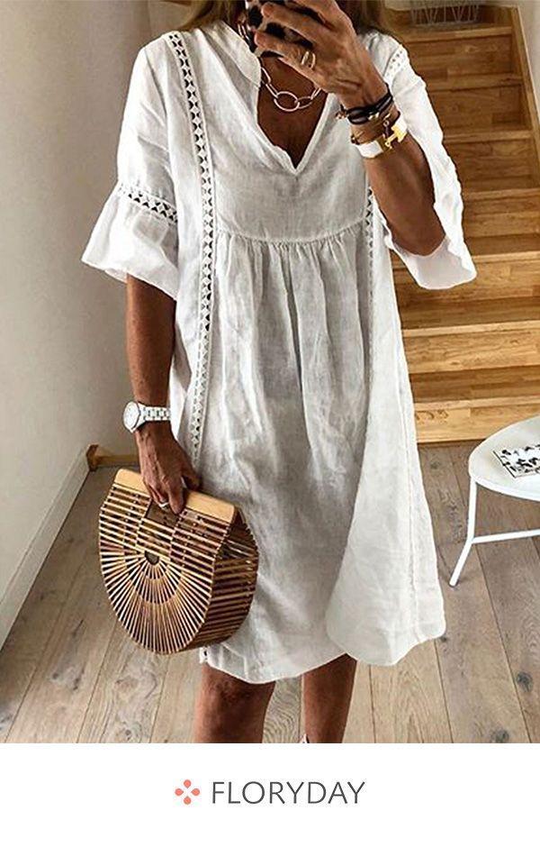 Knielanges Kleid in A-Linie mit V-Ausschnitt – F…