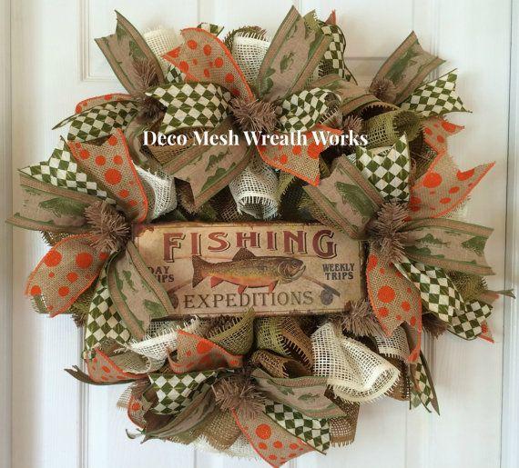Fishing Deco Mesh Wreath Gone Fishing Wreath Lake House