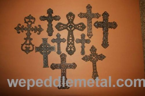 Santa Maria cast iron cross wall collage, Christian crosses, Set of 10, Free Shipping, (RC)