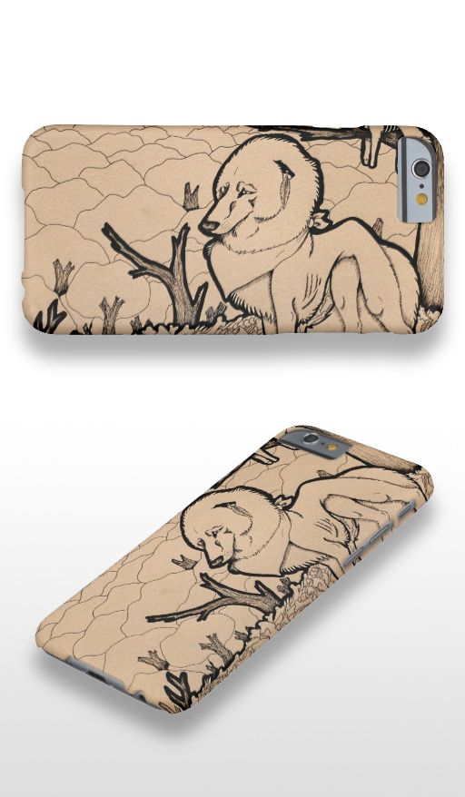 """Autumn"" Black and white illustrated lone wolf iPhone 6 Case"