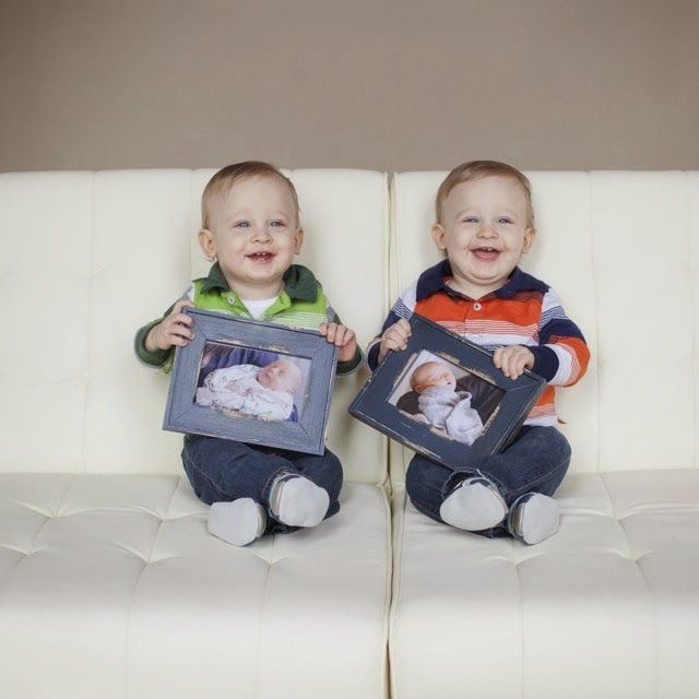 Twin baby boys 1st birthday pictures with their newborn pictures photo credit beth stafford