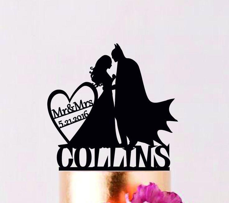 Batman Cake Topper, Batman Wedding Cake Topper, Batman Silhouette Cake Topper , Mr and Mrs Topper, Cake Topper With Date, Super Hero Topper by AllForWeddingStudio on Etsy