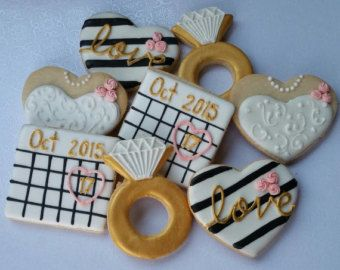 1 Dozen Engagement Cookies by Scookies on Etsy