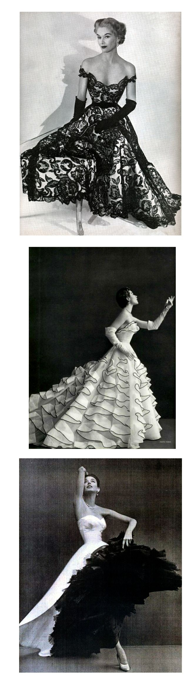 1) 1951 Hattie Carnegie Fashions. Photo by Horst P. Horst. Model: Lisa Fonssagrives-Penn.     2) L'Officiel #371, 1953. Photographer: Tobias Jacques Heim, Spring 1953    3) Evening ensemble: Balenciaga, 1951, cover of Harper's.