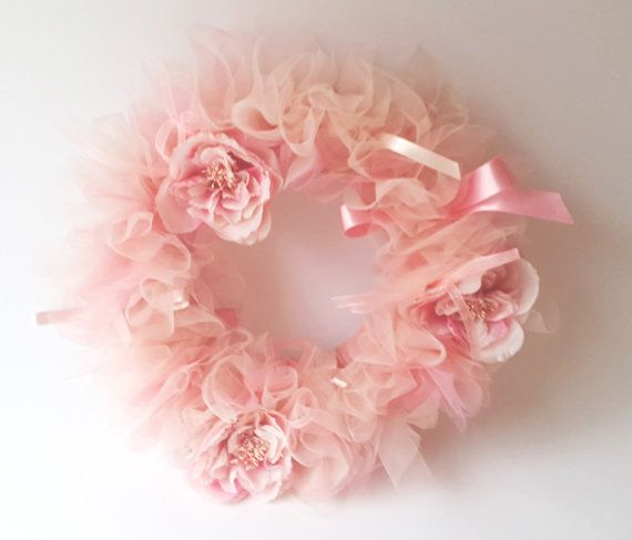 Pink Shades Tulle Wreath with flowers and ribbons. by AylinkaShop