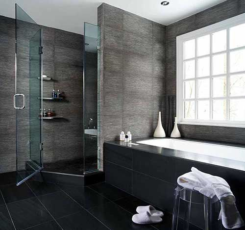 Темные ванные комнаты - дорогой дизайн.