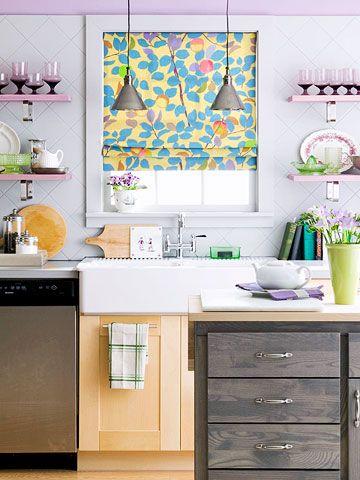 Wonderful Windows: Decor Ideas, Spring Color, Purple Kitchen, Kitchen Window, Custom Shades, Roller Shade, Kitchen Ideas