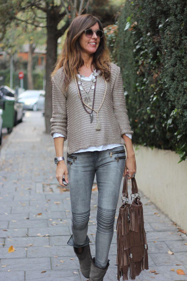 Grey | denim | necklaces                                                                                                                                                     Más