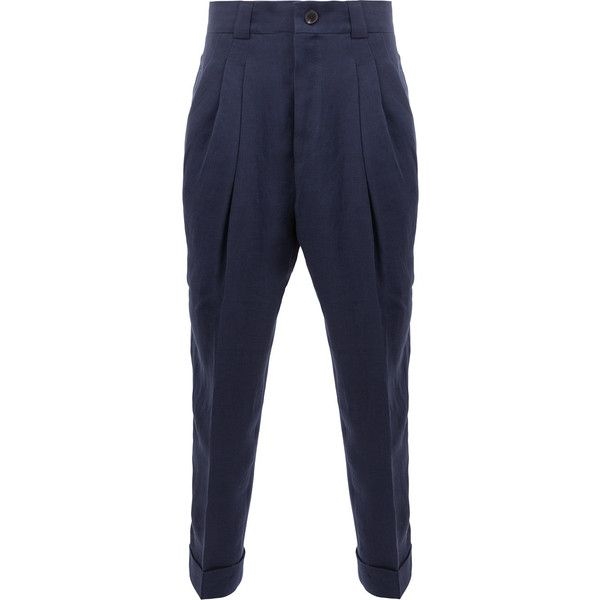 Haider Ackermann high-rise tapered trousers (€1.075) ❤ liked on Polyvore featuring men's fashion, men's clothing, men's pants, men's casual pants, blue, mens blue pants, mens high waisted pants and mens tapered pants